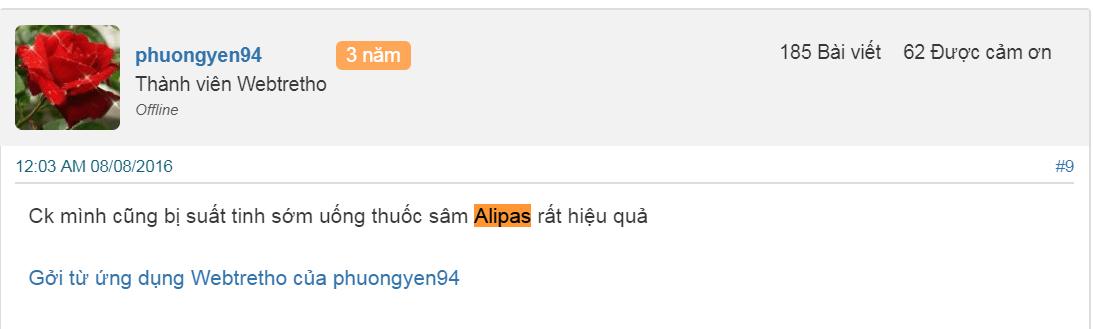 Review Sâm Alipas Trên Webtretho