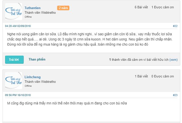 Feedback của khách hàng trên Webtretho