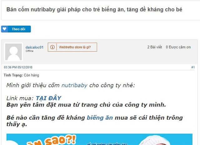 Review đánh giá Nutribaby trên webtretho