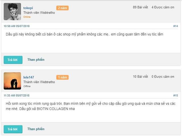 Review đánh giá của khách hàng trên webtretho