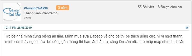 Review sữa Babego trên các web diễn đàn mẹ và bé